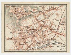 1927 Original Vintage City Map Of Bergamo Lombardy Italy Ebay