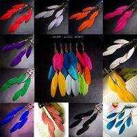 Fashion Women Handmade Jewelry Hook Drop Dangle Goose Feather Earrings Party Hot