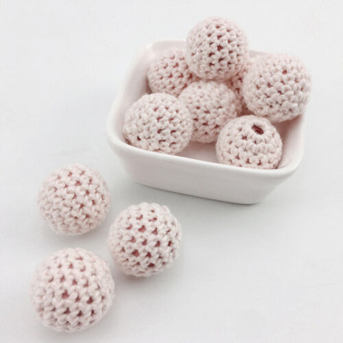 Soft Yarn ball Baby Teether 16mm Crochet Wooden Safe Tooth Nursing Toy Beads