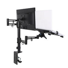 "11"" - 15.6"" Laptop Stand Mount Swing Dual LCD arm Desk Mount fit 10""-27"" Monitor"