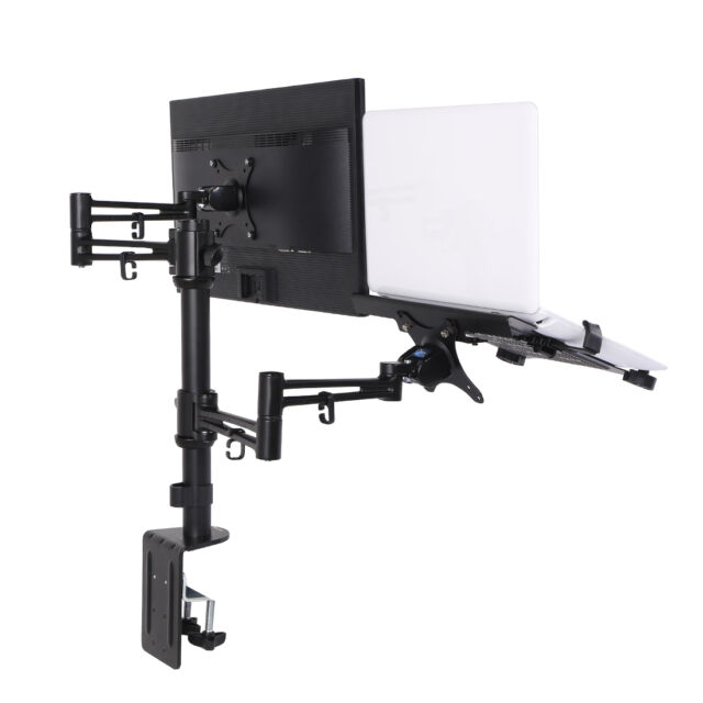 Loctek D2DL 2 In 1 Dual Monitor Arm Desk Mount Stand For 10 To 27 Inch LCD  And 1