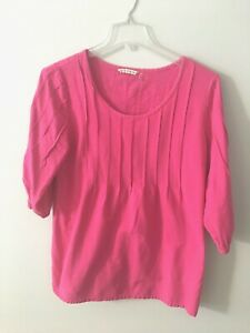 Soft-Surroundings-Top-Tunic-Pink-Large-L-Cotton-Pin-Tuck-Pleated