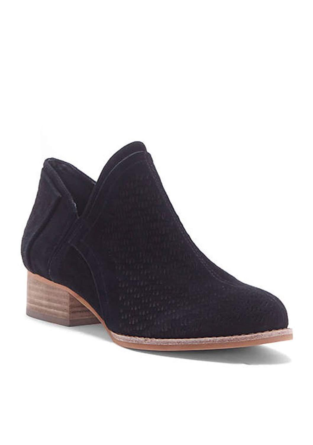 Vince Camuto Women's Clorieea Leather Slip-On Perforated Ankle Booties Black