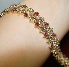 """Heavy 925 Sterling Multi Gem Garnet Peridot Topaz Tennis Bracelet 8""""Fine jewelry"""