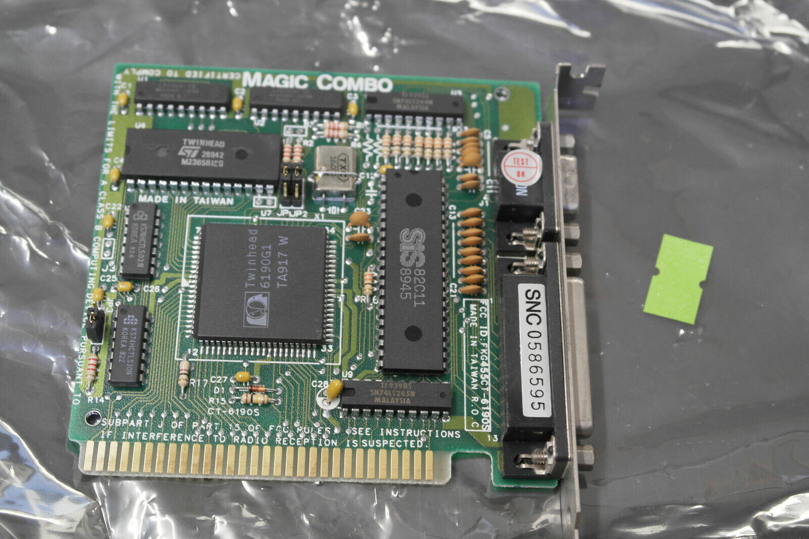 MAGIC COMBO CT-6190S TWINHEAD 6190G1 8 bit ISA HGA DB9 video graphics card