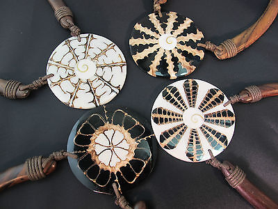 Black Strand Brown Resin Tribal Style Large Hoop Pendant Long Lagenlook Necklace