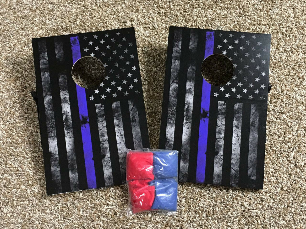 Mini Thin bluee Line bean bag boards  with handles and bags  exclusive