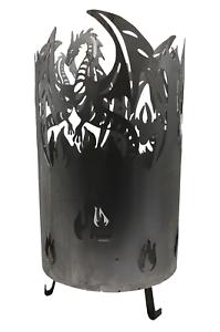 Feuertonne Feuerkorb Feuerschale Motiv Drache Metall Ø 38 cm x Höhe 58 cm