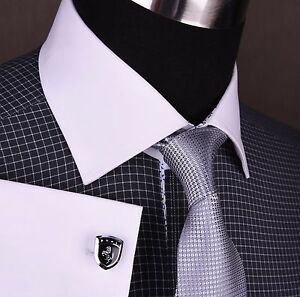 Black-Plaids-amp-Checks-Formal-Business-Dress-Shirt-Luxury-Contrast-2x-Double-Cuff