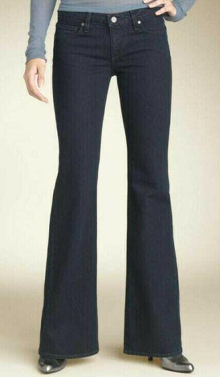 PAIGE Premium Denim Robertson Low Rise Wide Leg Stretch Jeans Dark Wash Size 32