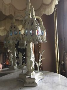 Vintage White Cast Iron tree trunk Chandelier Floral Table Lamp   eBay