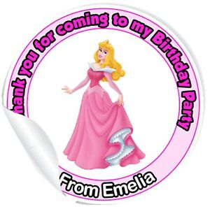 18 x Personalised Princess Party bag seal stickers any name printed