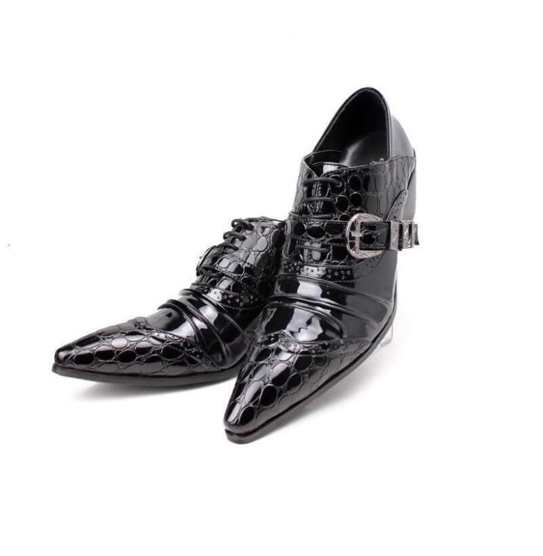 Spitze Herrenschue Kroko  Freizeit Schuhe Tanz Party schwarz rotwein Gr.38-44.