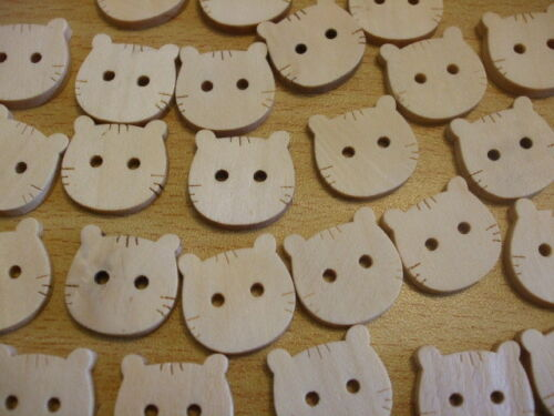 CATS KITTY wood wooden natural craft sewing buttons 20mm x25 UK seller F26