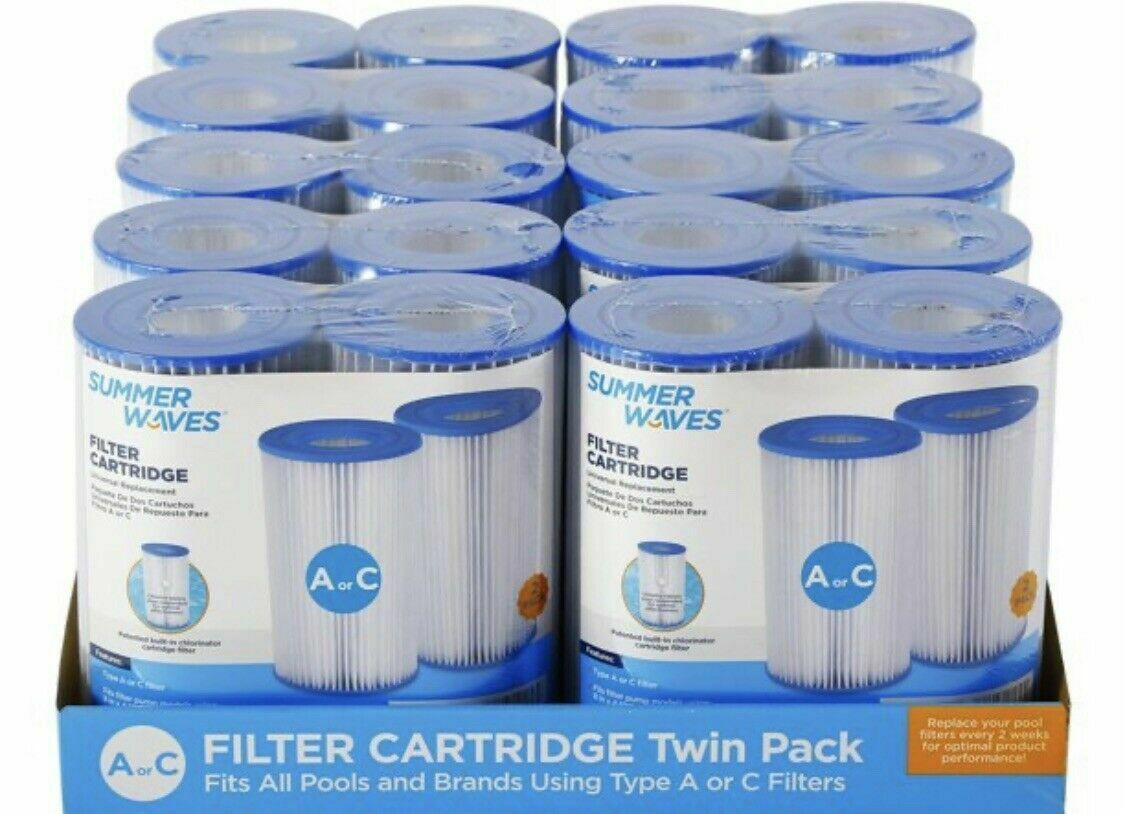 Summer Waves Type A//C Swimming Pool Pump Filter Cartridge Pack of 2