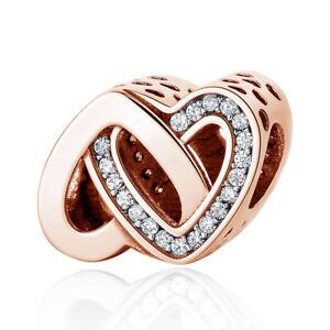 Rose-Gold-verschlungenen-Liebe-Herz-Charm-Bead-Original-Sterling-Silber-925-791880-CZ