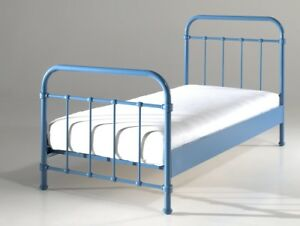 metallbett new york einzelbett mit lattenrost liegefl che 90 x 200 cm blau ebay. Black Bedroom Furniture Sets. Home Design Ideas