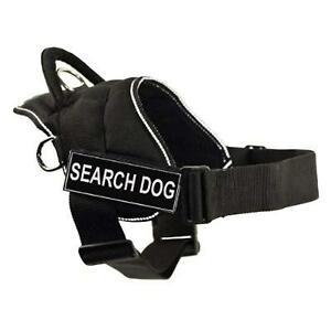 DT-Works-Harness-Search-Dog-Black-With-Reflective-Trim-Small-22-Inch-to-27-Inch