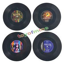 4 Stück Runde Vinyl Schallplatten Glasuntersetzer Set Untersetzer Matte Tischset