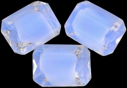 Glass Sapphire Blue Givre Octagon Rhinestones Foiled Faceted Cabochon 13 x 18 mm