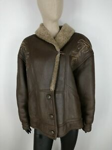 SHEARLING-MONTONE-SHEEPSKIN-Cappotto-Giubbotto-Jacket-Giacca-Tg-46-Woman-Donna-C