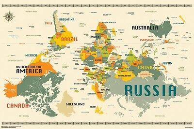 WORLD MAP - UPSIDE DOWN STYLE POSTER 24x36 - 11350 | eBay