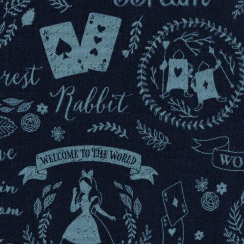 By 1//2 Yard Kokka Canvas Fabric ~ Alice Dreams in Navy ~ Alice In Wonderland