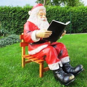xxl weihnachtsmann mit buch holzstuhl lebensgross santa. Black Bedroom Furniture Sets. Home Design Ideas