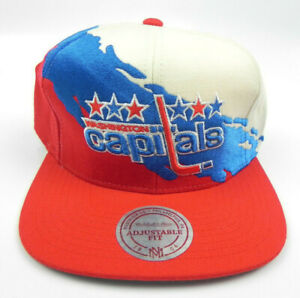 WASHINGTON-CAPITALS-NHL-MITCHELL-amp-NESS-PAINTBRUSH-VTG-SNAPBACK-CAP-HAT-NEW-RARE