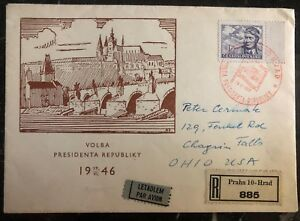 1946 Prague Czechoslovakia First Day cover FDC  To Chagrin Falls USA Election