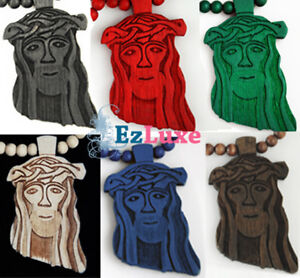 Details About Longer Chain Goodwood Good Maple Wood Black Jesus Piece Necklace 37 Face Wooden