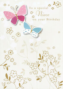 Niece-Birthday-Card-Hand-Finished-034-Butterfly-Design-034-Size-6-75-034-x-4-75-034-II0307