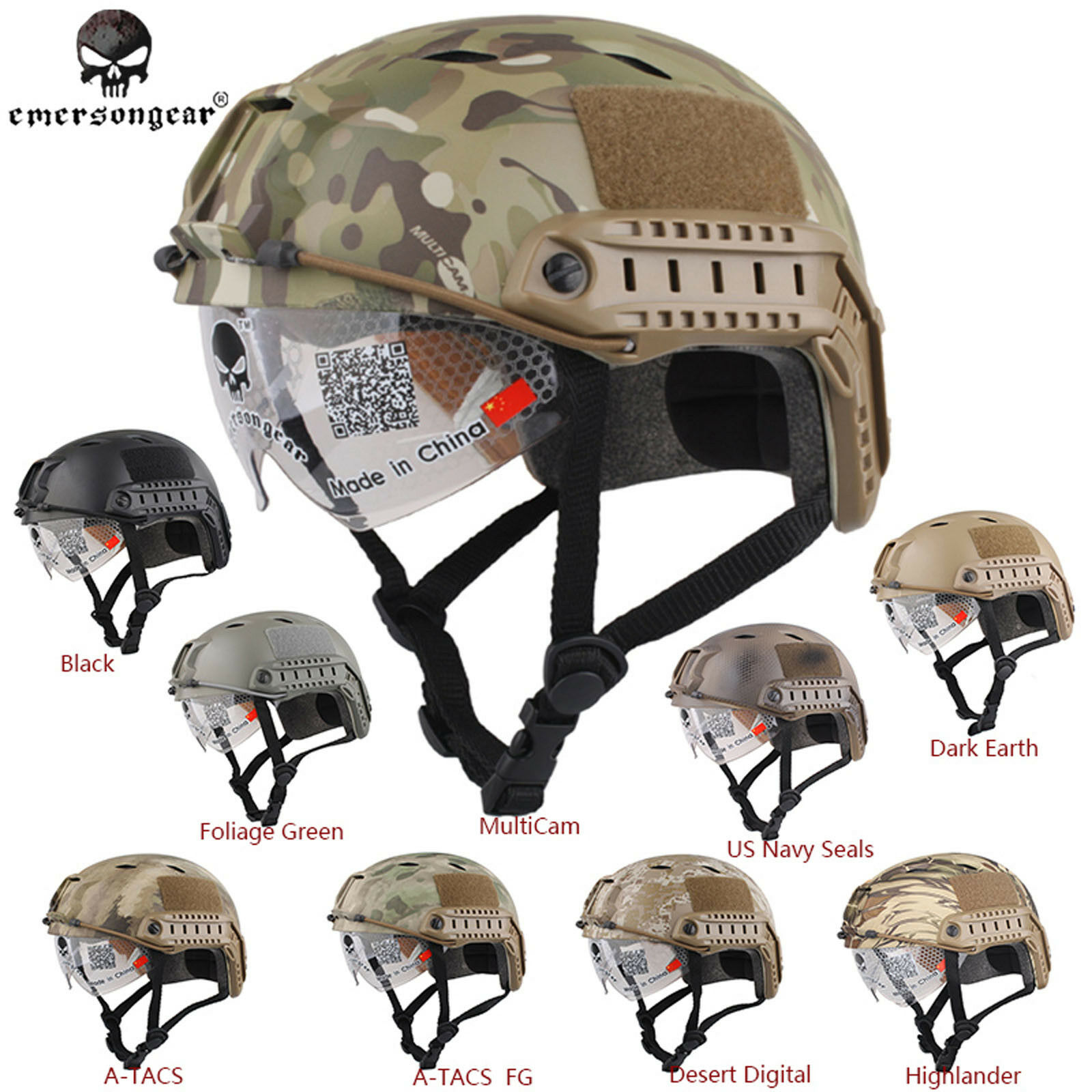 Emerson FAST Airsoft Helmet With Predective Goggle  Base Jump BJ Tactical  Helmet  incentive promotionals