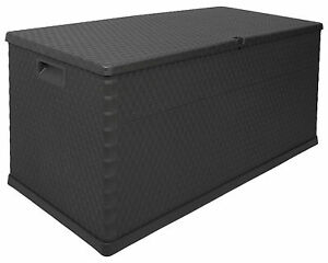 Ondis24 Gartenbox Kissenbox Rattan Auflagenbox anthrazit abschließbar Rollbox