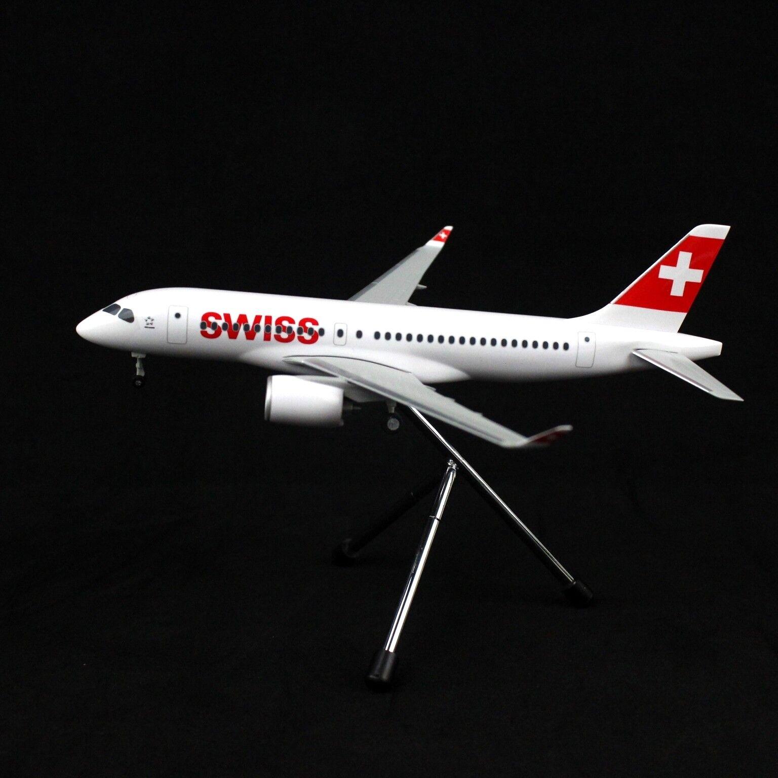 1 200 17.5CM SWISS Bombardler CS100 Passenger Plane ABS Plastic Assembled Model