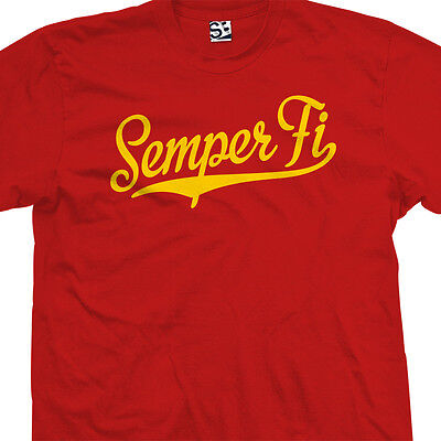 Semper Fi Script Tail Shirt - USA US Military Fidelis Marines  All Size & Colors