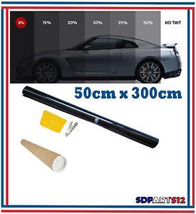 Film Solaire De Qualite, 300cm X 50cm, Teinté ,3% Vlt Ultra Noir Auto,batiment Dernier Style