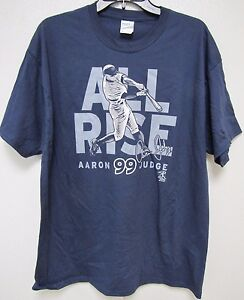 finest selection 5d445 a2b2f Details about MLB NY Yankees Aaron Judge Slugger ALL RISE Blue T-Shirt  Select Size Below