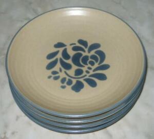 Lot-of-4-Pfaltzgraff-USA-Folk-Art-7-1-4-034-Plates-Salad-Dessert-Bread-Light-Tan-B