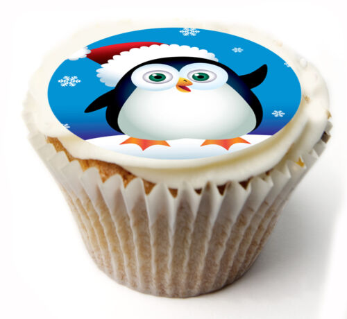 Cupcake Topper Pingouin De Noël Personnalisé Papier de Riz Glaçage Feuille 890
