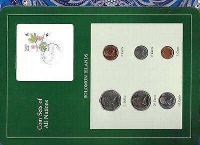 Attractive Designs; Coin Sets Of All Nations Solomon Islands W/card Unc 1977-1987 2,10 Cent Fm u