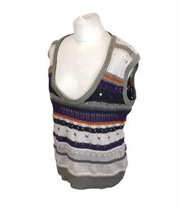 Fat Face Sweater Vest Sleeveless Jumper Striped Wool Mohair Alpaca Boho 16 UK