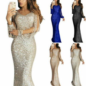 Dress-Women-Maxi-Long-Sequin-V-Party-Cocktail-Sleeve-Neck-Bodycon-Sexy-Evening