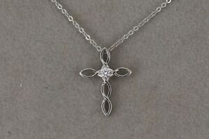 Woven-Design-Diamond-Cross-with-Anchor-Link-Chain-14kt-White-Gold