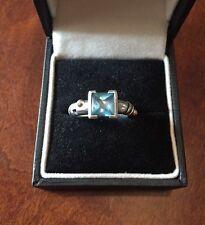 John Atencio Blue Topaz Sterling Silver And 18 Karat Gold Ring Women's Size 6