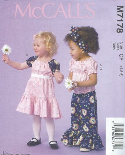McCall/'s 7178 Toddlers/' and Girls/' Top Dress and Pants    Sewing Pattern