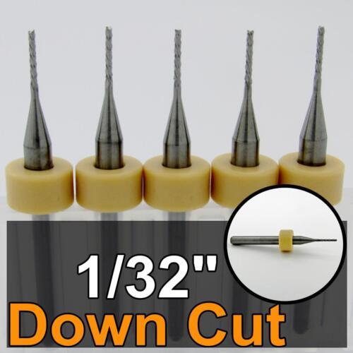 """1//32/"""" Down Cut Router /<FIVE Pcs/> Diamond Pattern Flutes Solid Carbide CNC R182"""