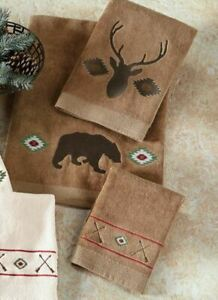 Aztec Bear Mocha Embroidered Country Cottage Bath Towel 3 Piece Set