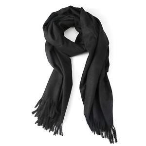 166319c72fc Details about Womens Black Large Soft Cashmere Feel Pashmina Shawls Wraps  Light Scarf