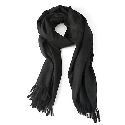 8e838f30a10 Womens Black Large Soft Cashmere Feel Pashmina Shawls Wraps Light Scarf  6930829531666 | eBay